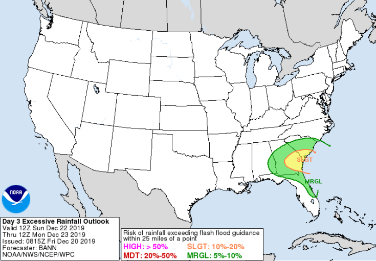 Southeast Georgia and southern South Carolina could see flash flooding if rainfall amounts are on the high end of current projections. (Source: Weather Prediction Center)