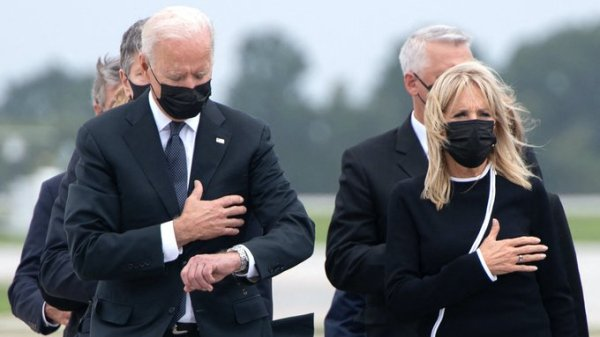 President Biden looking at his watch at Dover AFB